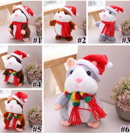 Wholesale 16cm Stuffed Animal - 2018 6 Styles 16cm 6 inch Hamster Plush Toys Cartoon Can Talk and Nod Hamster Stuffed Animals for Baby Christmas Gift