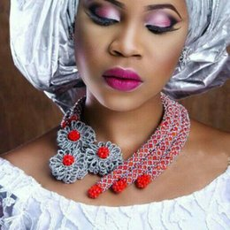 Wholesale Light Blue Crystal Wedding Jewelry - african beads jewelry set coral red silver handmade flowers 2017 latest bridal nigerian wedding aso ebi styles party necklace set