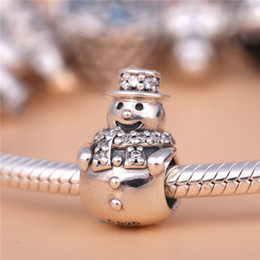 Wholesale Clear Glass Cube Beads - 2016 Christmas 925 Sterling Silver Snowman Charm Bead with Clear Cz Fits European Pandora Style Jewelry Bracelets Necklace