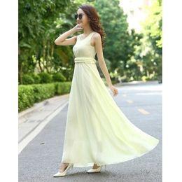 Wholesale Dresses Summer Sea - 2017 new Bohemian beach skirt Slim thin sea vacation holiday big skirt chiffon dress summer