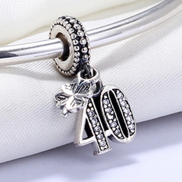 Wholesale Silver Chain 925 Round - Real 925 Sterling Silver Not Plated Number 40 CZ Charm European Charms Beads Fit Pandora Snake Chain Bracelet DIY Jewelry