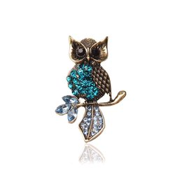 Wholesale European Style Wedding Gift - High quality European and American style boutique blue crystal owl brooch crystal female gift corsage