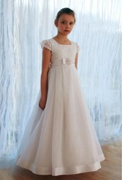 Wholesale Girl S Pageant Dresses - cute 2017 flowers girls dresses cheap jewel neck bow back ball gown pageant communion gowns custom made flower girl dress fast shipping