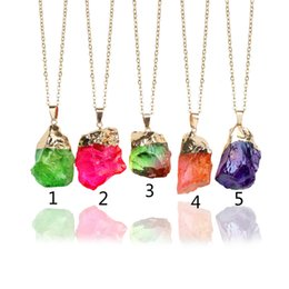 Wholesale Quartz Crystal Point Beads - New Natural Crystal Quartz Healing Point Chakra Bead Gemstone Necklace Pendant Original Natural Stone-style Pendant Necklaces Jewelry Chain
