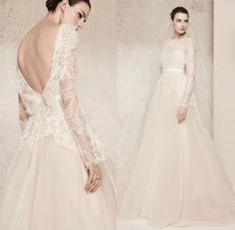 Wholesale Elie Saab Wedding Dresses Gold - Elie Saab Lace Wedding Dresses Luxury Crystal Long Sleeves 2018 Bridal Gowns Bateau Neck Custom Made Bridal Gowns