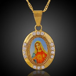 Wholesale Blessing Design - Blessed Virgin Mary 18k Gold Plated Necklace Fashion Personalized Design Hip Hop Jewelry Punk Rock Micro Men women round Pendant Necklace
