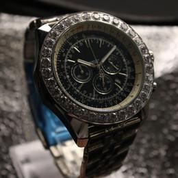 Wholesale Bezel Diamond Band - 2017 Hot sale luxury brand watch automatic mechanical mens wristwatch black dial big diamond bezel stainless steel silver band Mens watches