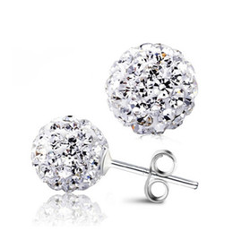 Wholesale Swarovski Crystal Ball Earrings Wholesale - New 925 Silver Shamballa Crystal Earrings disco double sided Ball Stud Earrings Swarovski Jewelry for Women with Rhinestone Crystal