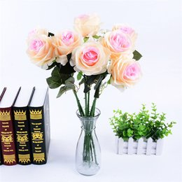 Wholesale Real Touch Flowers Roses - 2017 10pcs lot Decor Rose Artificial Flowers Silk Flowers Floral Latex Real Touch Rose Wedding Bouquet Home Party Design Flowers