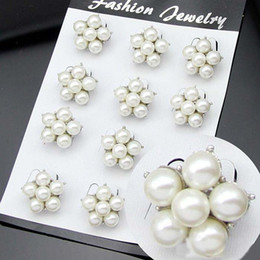 Wholesale Rhinestone Pearl Clusters - Bride Wedding Brooches Pearl Jewelry Mini Size Rhodium Silver Vintage Pins 8mm Cream Ivory Pearl Cluster Brooch Wedding Bouquet Accessory