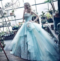 Wholesale Ocean Blue Gowns - 2017 Ocean Blue Strapless Ball Gown Quinceanera Dresses Embroidery Tulle Floor-length Sweet 16 Dresses Vestidos De Quinceanera Party Gowns