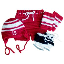 Wholesale toddler girl crochet hat sets - Newborn Red Hockey Costume Handmade Knit Crochet Baby Boy Girl Hockey Hat Shorts Shoes Leg Warmers Set Infant Outfit Toddler Photo Prop