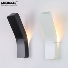 Wholesale Wall Lights For Stairs - Modern Mini Wall Light Fixture Simple White Black Metal Wall Sconces 1pcs E14 Bulbs Beside Lamp for Stair Indoor Outdoor Bedroom Decoration