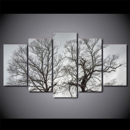Wholesale Autumn Canvas Wall Art - 5 Pieces Trees Together Autumn Sights Wall Art Canvas Pictures For Living Room Bedroom Home Decor Printed Canvas Painting