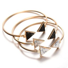 Wholesale Wholesale Stone Bangles - Vintage Geometry Triangle Turquoise Cuff Bangles White Black Natural Stone Open Adjustable Fashion Jewelry For Women