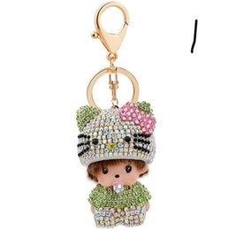 Discount crystal car sales - Hot sale Monchichi key chain pendant Rhinestone bag accessories car key chain Christmas gift