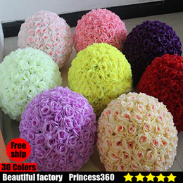 Wholesale Wedding Decoration Blue Brown - Rose balls 6~24 Inch(15~60CM) Wedding silk Pomander Kissing Ball decorate flower artificial flower for wedding garden market decoration A01