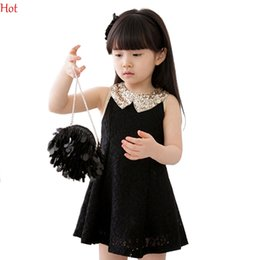 Wholesale Paillette Tank Dress - Hot Summer Girl Party Dress Sleeveless Sequins Collar Lace Tank Dress Paillette Collar Children Colthes A-line Princess Dresses Sale 14554