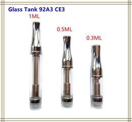 Wholesale Dual Coil Tank Pyrex - Pyrex Glass CBD Cartridge Atomizer Hemp oil Vaporizer CE3 Vape Tank 92A3 510 thread Dual Coil for BUD Touch O Pen Battery