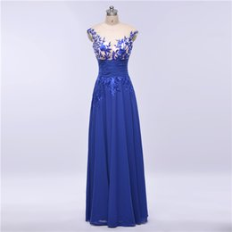 Wholesale Lace Bodice Special Occasion Dresses - In Stock 2016 Royal Blue Evening Dresses A Line Applique Beading Sexy Back Sheer Neck Illusion Bodice Party Prom Gowns Elie Saab Dress