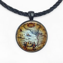 Wholesale World Globe Gifts - Free shipping Antique Old World Map circa 1500 Pendant Necklace-Americas Explorers Globe Pendant necklace-World Map Pendant