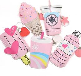 Piccoli portafogli carini per le donne online-Cartone animato da donna portamonete e borsette Carina bottiglia di gelato in pelle Custodia per cellulare kawaii Borsa piccola per chiavi Carteira