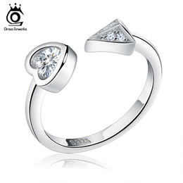 Wholesale Heart Shape Stones - New Arrived Genuine 925 Silver Rings Heart Shape & Triangle Design Adjustable Finger Rings For Women SR04