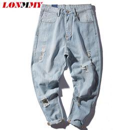 Wholesale Jeans Pattern Design - Wholesale- LONMMY M-4XL Cheap jeans men denim Cotton Hole design Harem pants Slim fit Skinny Small bottom Casual trousers mens jeans 2017