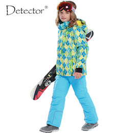 Wholesale Gold Silver Detectors - Wholesale- New arrival Brand Detector Children's ski&snowboard suits thick warm windproof&waterproof jacket and pant for boys and girls