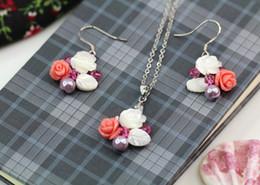 Wholesale 925 Pearl Flower Necklace - 925 Sliver SWAROVSKI Necklace parure bijoux femme Natural seashells Wedding Bridal mariage Flower pearl pendant jewelry