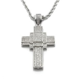 Wholesale Cross Necklace Vintage - Hip Hop Silver Plated Cross Pendant Men Women Vintage Iced Out Bling Full Rhinestone Crystal Long Pendant Necklace Chain