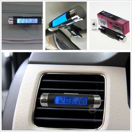 Wholesale Lexus Clock - Car SUV Vehicle Vent Clip Blue LED Backlight Digital Display Clock Thermometer