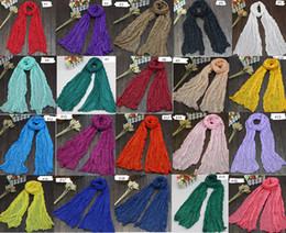 Wholesale Crinkle Scarf Wraps - 2017 New Women Soft Super Long Crinkle Scarves Wraps Shawls Stole Fashion Multicolor Punk Scarf - 26Color