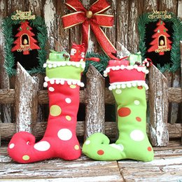 Wholesale Santa Boots Decorations - 2016 New Arrival Santa Claus Elf Shoe Boots Suspenders Pant Candy Gift Bag Small Sack Stocking Filler Christmas Decoration