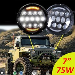 "Wholesale Round Led Headlights - 7inch Round LED Headlight 75W Hi  Lo Work Lamps DRL Fog Driving Headlamp 7"" For JEEP Wrangler JK CSL"