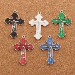 Silber jesus halskette online-Emaille Jesus Kruzifix Kreuz Charms Anhänger 70pcs / lot 21x33.5mm Antik Silber Modeschmuck Fit Armbänder Halskette Ohrringe L424