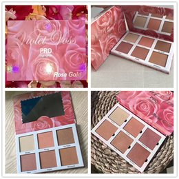 Wholesale rose violet - Newest Violet Voss PRO Highlighter Rose Gold Palette Face Bronzers & Highlighters 6 color Glow free shipping