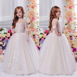 Wholesale Gowns For Wedding Occasions - 2017 Lace Princess Half Sleeve Little Flower Girl Dresses For Weddings Applique Kids Ball Gowns Special Occasion First Communion Dresses