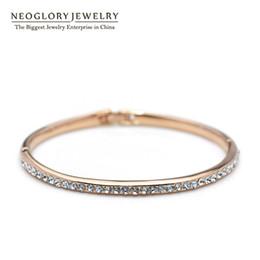 Wholesale Swarovski Elements Gold - Top Quality MADE WITH SWAROVSKI ELEMENTS Rhinestone Gold Color Neoglory Bangles & Bracelets Charm for Women Fashion Jewelry