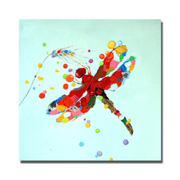 Wholesale Dragonfly Painting - Traditional designs of fabric painting cartoon animal dragonfly knife oil painting 1 piece canvas wall art