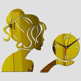 Adesivi per la decorazione degli specchi online-All'ingrosso-2016 vendita calda orologio da parete acrilico specchio orologi al quarzo orologi decorazione della casa 3d adesivi design moderno soggiorno spedizione gratuita