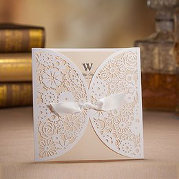 Wholesale wedding invitation classic - Wholesale- White Laser design Classic Wedding invitation Cards,Beige Inner sheet printable,With envelopes,Free shipping,50 sets lot,