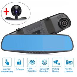 "Wholesale Mirror Digital Camera - 4.3"" 1080P HD Car DVR Vehicle Dual Lens Anti-glare Blue Mirror Video Driving Recorder Wide Angle 1200W Pixel Dash Camera"