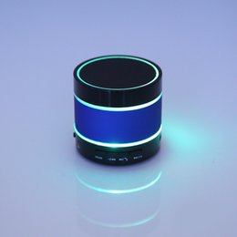 Wholesale Mini Speaker Metal - S09 Wireless Bluetooth LED Speaker Enhanced Speaker 3 LED Light Ring Super Bass Metal Mini Portable Beat Hi-Fi Handfree FM Radio 0802211