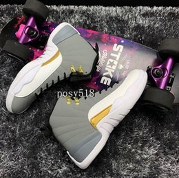 Wholesale Cool Shoes For Sale - High Quality Retro 12 XII Cool Grey Gold White Black 12s Basketball shoes men 2016 cheap mens sneakers for sale with shoes box