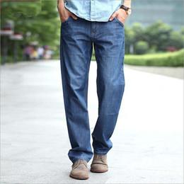 Wholesale Size 48 White Jeans Men - Wholesale-Fashion Mens Jeans Pants Straight Loose Denim Long Trousers Baggy Jeans Joggers Hip Hop Blue Black Plus Size 27-48