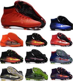 Wholesale Cheap Indoor Soccer Shoes Kids - newairl boys soccer shoes cheap original soccer cleats for kids youth cr7 soccer shoes indoor men women Superfly FG Football Boots High Top