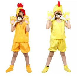 Wholesale Chicken Costume White - Fun Children Boy Girls Animal Yellow Chicken Cosplay Clothing Props 3D Headpiece Hallowmas Costume Carnival Party Performance