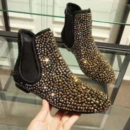 Wholesale Black Low Ankle Punk Boots - 2017 Punk style Boots women crystal studded leather Ankle Boots Round toe golden rhinestone martin short boots