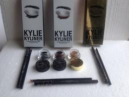 Wholesale Pen Shadow Eyes - NEW KYLIE KYLINER LIP KIT Eye Liner gel pen eye shadow brush set of three sets of eye shadow brush 3colors